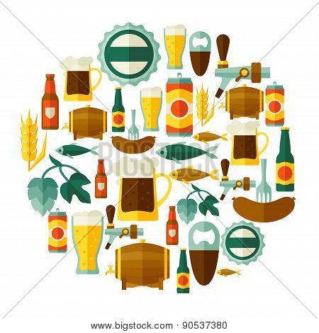 Background design with beer icons and objects