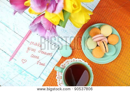 Composition with good morning top view on wooden background
