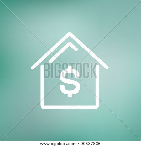 House mortgage icon thin line for web and mobile, modern minimalistic flat design. Vector white icon on gradient mesh background.
