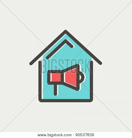 House fire alarm icon thin line for web and mobile, modern minimalistic flat design. Vector icon with dark grey outline and offset colour on light grey background.
