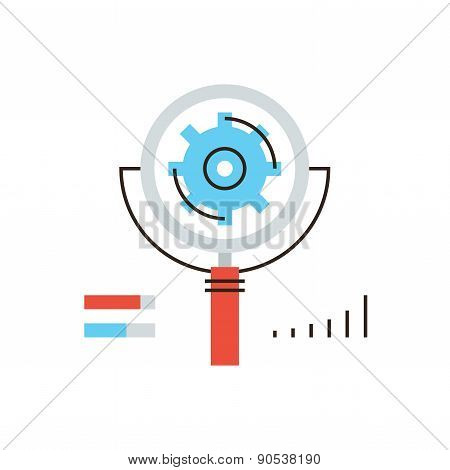 Search Engine Optimization Flat Line Icon Concept
