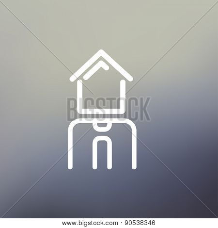 Real estate agent icon thin line for web and mobile, modern minimalistic flat design. Vector white icon on gradient mesh background.