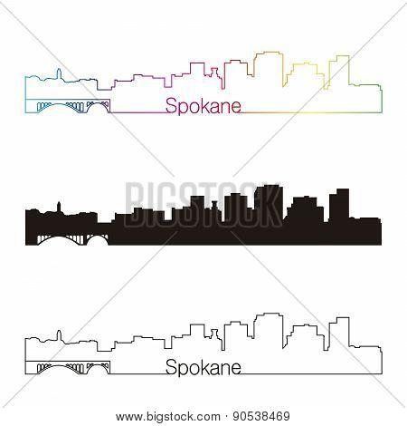 Spokane skyline linear style with rainbow