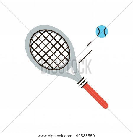 Tennis Racket Flat Line Icon Concept