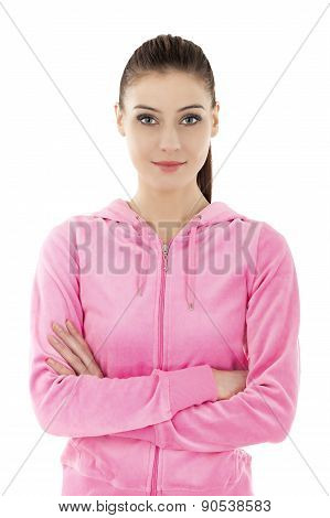 Beautiful Young Smiling Woman In Tracksuit.