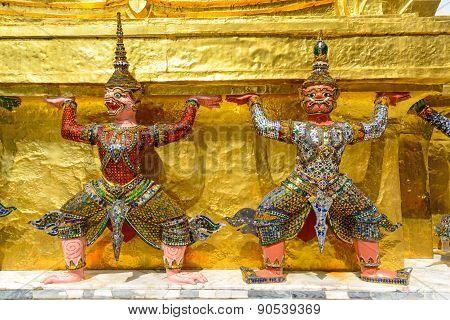 Giant Sculpture In Temple(wat Phra Kaew) Bangkok, Thailand.