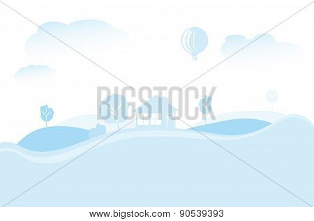 Abstract Landscape With Hills, House And Hot Air Balloon