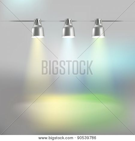 Photorealistic bright stage with color projectors. Presentation vector template