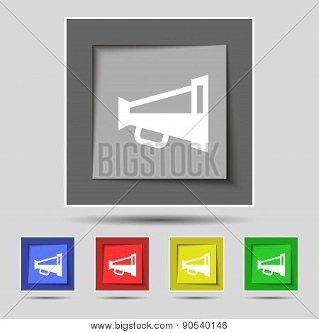 Megaphone Soon, Loudspeaker Icon Sign On The Original Five Colored Buttons. Vector