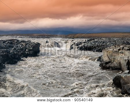 Wild rapids of icelandic river
