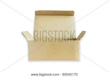 Open Small Cardboard Box Isolated On White Background.