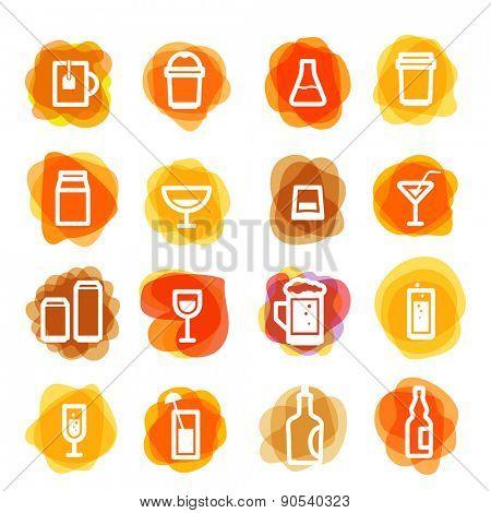 White drink icons clip-art on color blots. Design elements