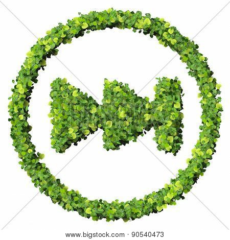 Media control skip to start / end, fast backward / forward, next icon, made from green leaves