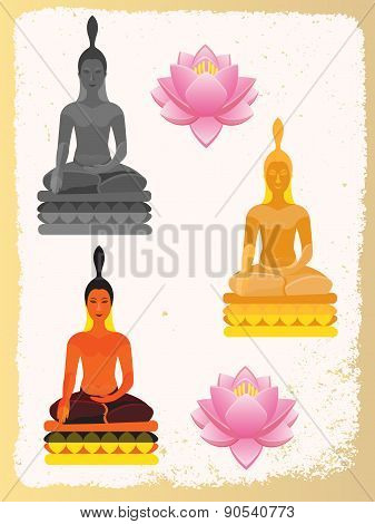 Lotus Flower And Buddha