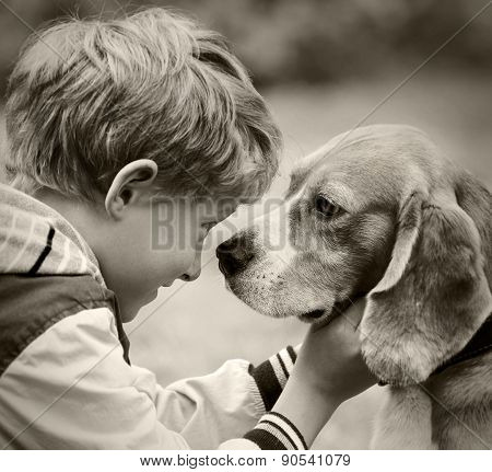 Boy And Dog Black And White Portrait