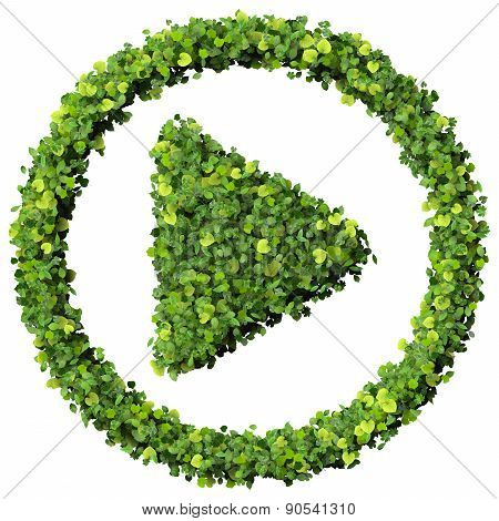 Media control play eco icon made from green leaves.