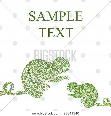 Abstract Funny Chameleon Cartoon Vector Illustration Text