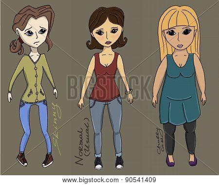 All Type Body Girls Vector Illustration