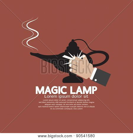 Hand Wiping The Magic Lamp.