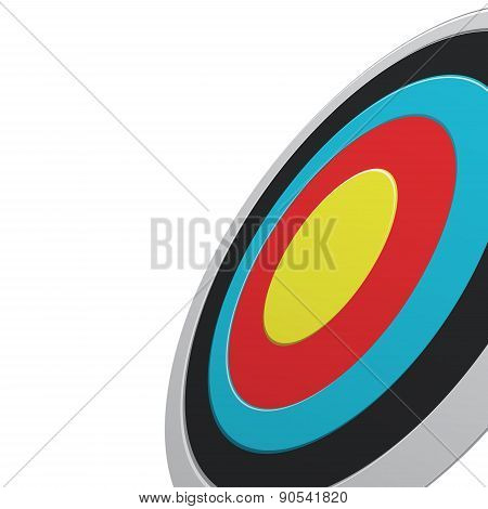 Round Colour Darts Target Aim Isolated On White Background. View From One Side.