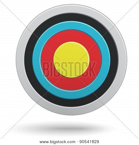Colour Round Darts Target Aim Isolated On White Background. Vector Illustration.