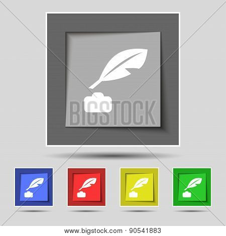 Feather, Retro Pen Icon Sign On The Original Five Colored Buttons. Vector