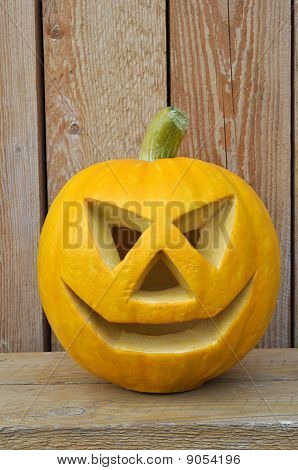 Jack O Lantern on a wooden bench