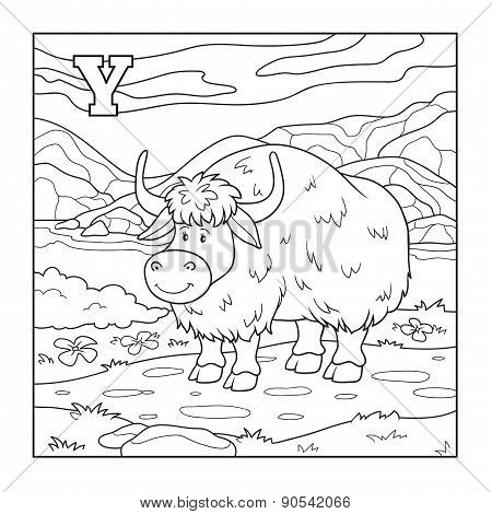 Coloring Book (yak), Colorless Illustration (letter Y)
