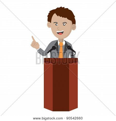 Orator Standing On Podium.