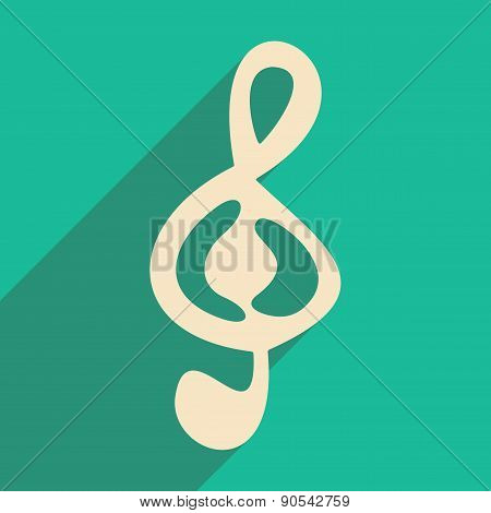 Flat with shadow icon and mobile applacation treble clef