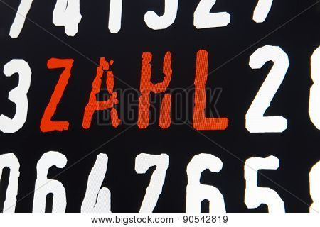 Computer Screen With Number Text On Black Background