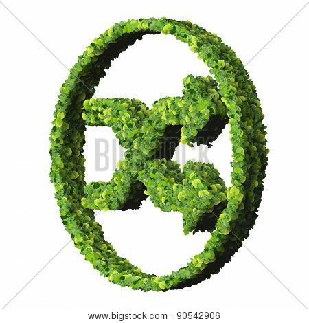 Media control shuffle icon, made from green leaves.