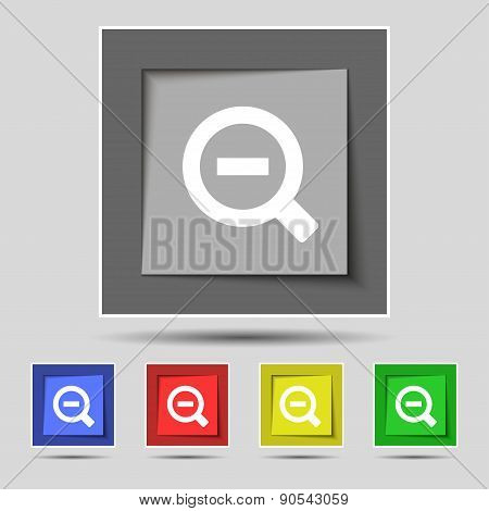 Magnifier Glass, Zoom Tool Icon Sign On The Original Five Colored Buttons. Vector