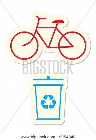 Bicycle and Recycle Icons