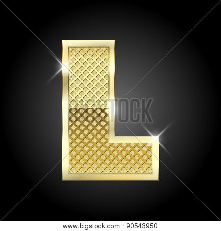 Vector metal gold letter L