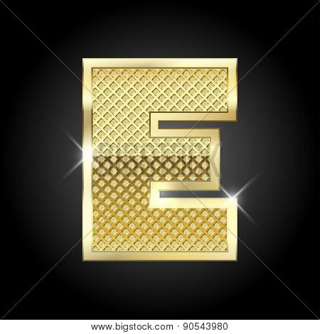Vector metal gold letter E