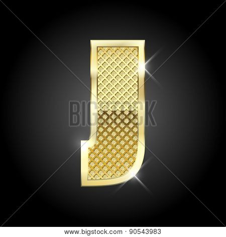 Vector metal gold letter J