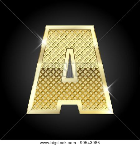 Vector metal gold letter A