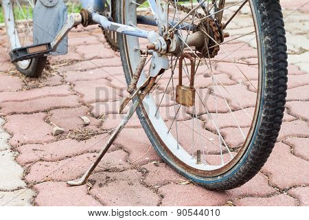 Bicycles Parked Until Flat Wheel