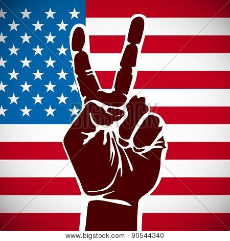 America Victory Finger , T-shirt Graphics, Vectors