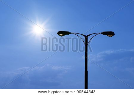 Silhouette Of Streetlight With Beautiful Sunlight
