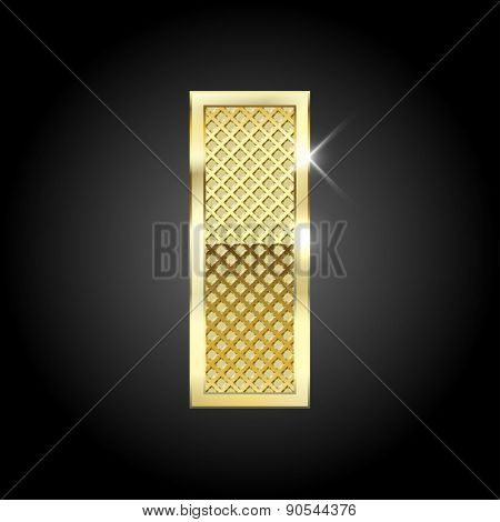 Vector metal gold letter I