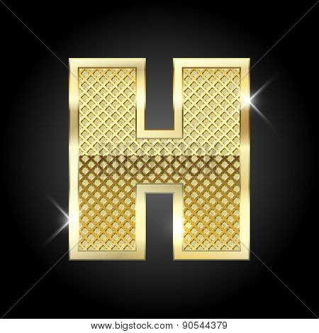 Vector metal gold letter H
