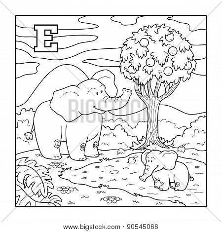 Coloring Book (elephant), Colorless Alphabet For Children: Letter E