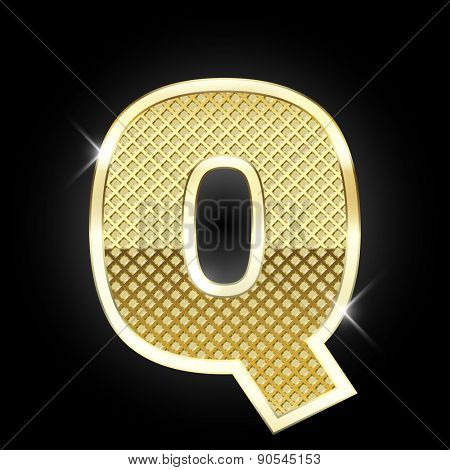 Vector metal gold letter Q