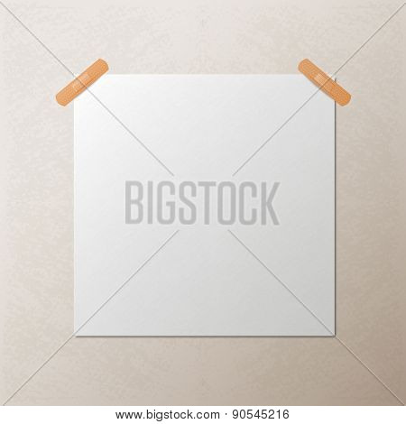 White blank square sheet of paper, vector template