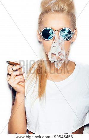 Blonde Woman In Sunglasses Smoking Cigar