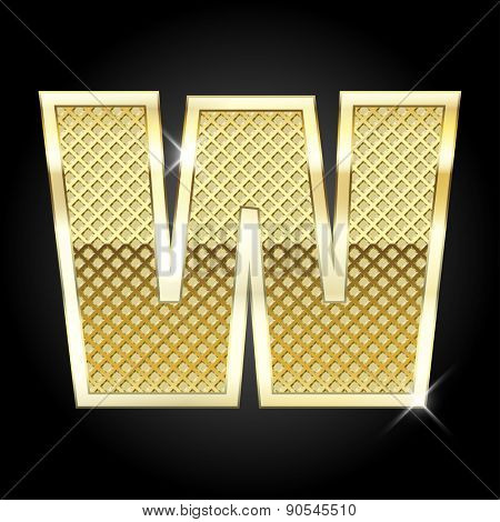 Vector metal gold letter W