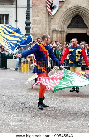 Palio, Flags Performers In Medieval Costumes