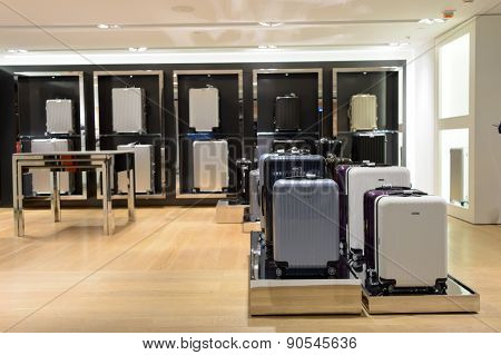 HONG KONG - MAY 06, 2015: bag store interior. Hong Kong shopping malls are some of the biggest and most impressive in the world